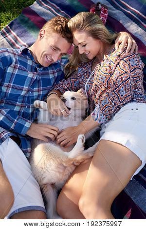 Loving couple lying in park outdoors with their cute pet dog puppy, happy smiling relationship