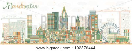 Abstract Manchester Skyline with Color Buildings. Business Travel and Tourism Concept with Modern Architecture. Image for Presentation Banner Placard and Web Site.