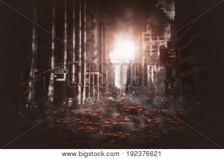 Empty street of burnt up city, flames on the ground and blasts with smoke in the distance. Apocalyptic view of city downtown as disaster film poster concept