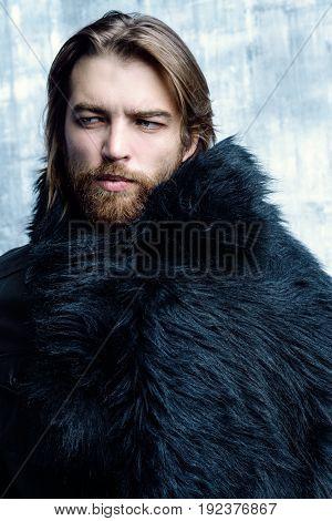 Fashion shot of a stylish brutal bearded man wearing fur coat. Studio shot over grunge background.