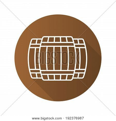 Alcohol wooden barrels flat linear long shadow icon. Whiskey or rum barrels. Vector outline symbol
