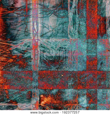 Retro texture, shabby and ragged background in grunge style. With different color patterns: gray; blue; red (orange); cyan; pink