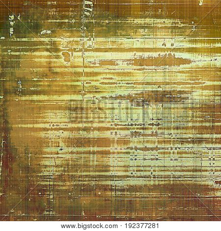 Old style decorative composition or designed vintage template with textured grunge elements and different color patterns: yellow (beige); brown; gray; green; white