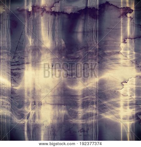 Grunge texture or background with retro design elements and different color patterns: yellow (beige); purple (violet); gray; blue