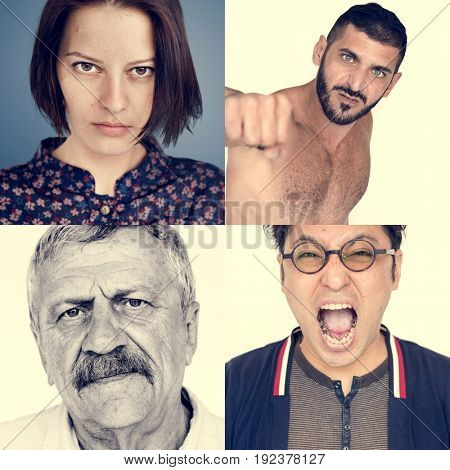 Set of Diversity People Angry Face Expression Emotion Studio Collage