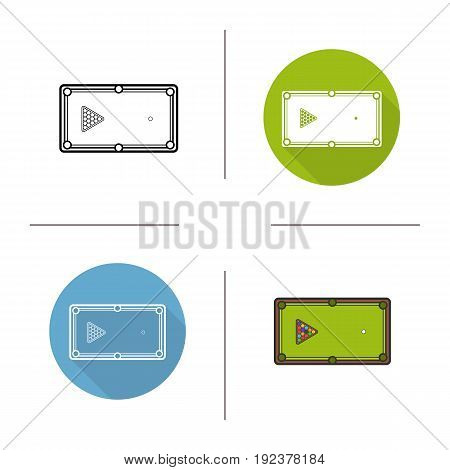 Billiard table icon. Flat design, linear and color styles. Pool table with triangle balls rack. Isolated vector illustrations