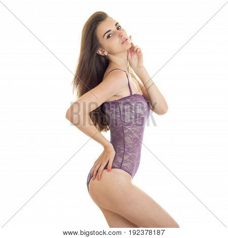 square portrait of beautiful young lady in body underwear posing on camera isolated on white background