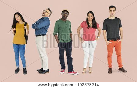 Group of Black Hair People Set Studio Isolated