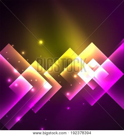 Dark background design with shiny glowing effects, lines and glass squares