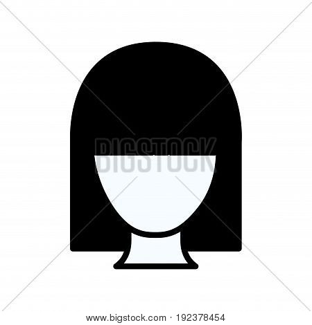 black silhouette thick contour of faceless woman with straight hairstyle vector illustration