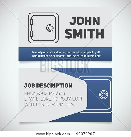 Business card print template with bank vault logo. Easy edit. Manager. Bank security. Safe deposit box. Stationery design concept. Vector illustration