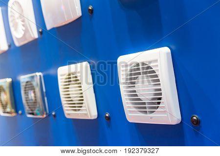 Exhaust fans showcase closeup, forced ventilation