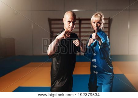 Wushu fighters, male and female partners