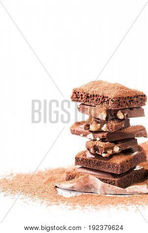 Tower of milk chocolate, porous