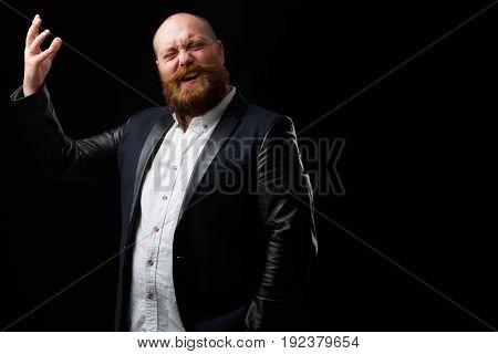 Man sings on empty background