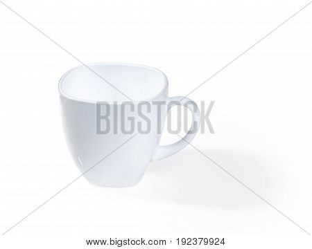 White empty cup isolated on white background