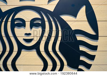 SEOUL, SOUTH KOREA - CIRCA MAY, 2017: close up shot of Starbucks sign. Starbucks Corporation is an American coffee company and coffeehouse chain.