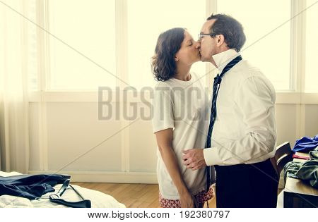 Husband Wife Kiss Romance Lifestyle