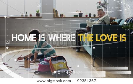 Home Love Family Quality Time Word Graphic