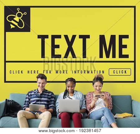 Text Message Me Communication Concept