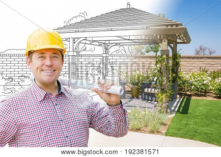 Contractor In Front of Drawing Gradating Into Photo of Finished Patio Cover