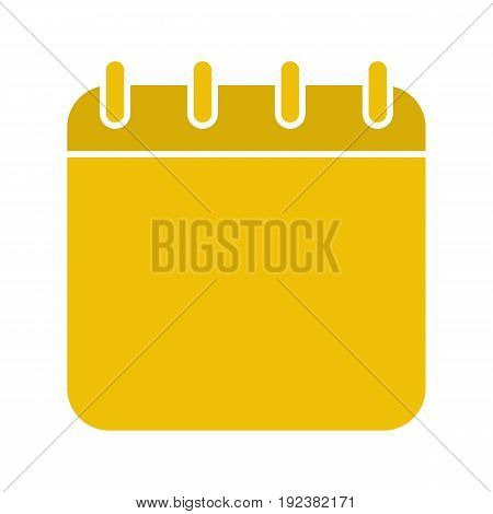 Calendar glyph color icon. Binder calendar blank page. Silhouette symbol on white background. Negative space. Vector illustration