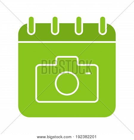 Photographer's day glyph color icon. Calendar page with photo camera. Silhouette symbol on white background. Negative space. Vector illustration
