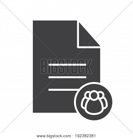 Petition glyph icon. Group document silhouette symbol. Text file with group of people. Negative space. Vector isolated illustration