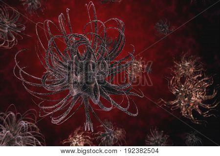 Dangerous Deadly Virus In The Body 3D Illustration