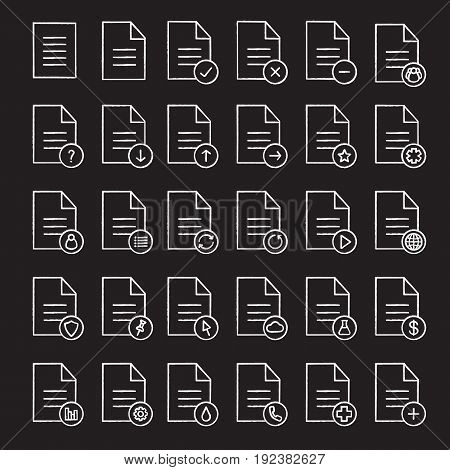Documents chalk icons set. Statistics, medical insurance and test, contract, approved document. Send, pin, upload, download file. Isolated vector chalkboard illustrations