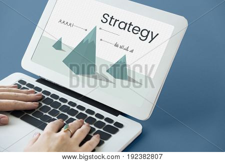 Business strategy graph on computer notebook screen