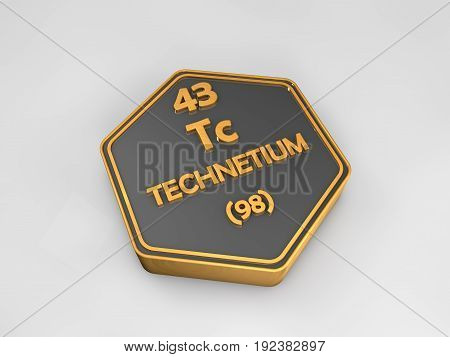 technetium - tc - chemical element periodic table hexagonal shape 3d render