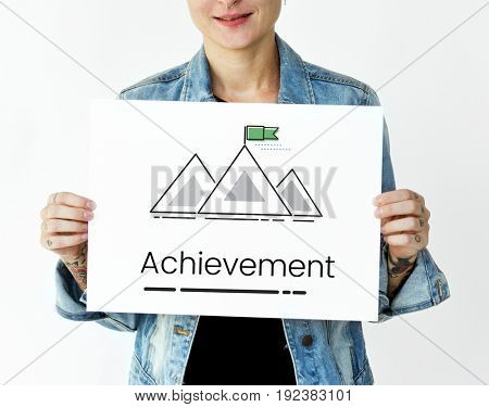 Illustration of goals target with mountain on banner