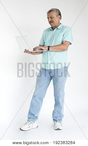Man standing and photoshooting for full body