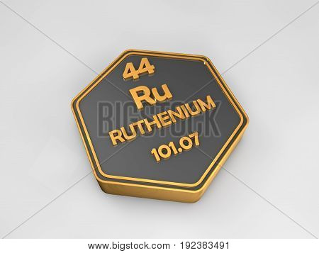 ruthenium - Ru - chemical element periodic table hexagonal shape 3d render