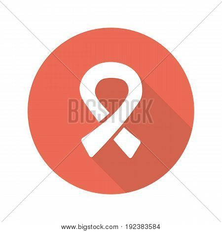 AIDS ribbon flat design long shadow glyph icon. Vector silhouette illustration