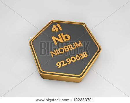 Niobium - Nb - chemical element periodic table hexagonal shape 3d render