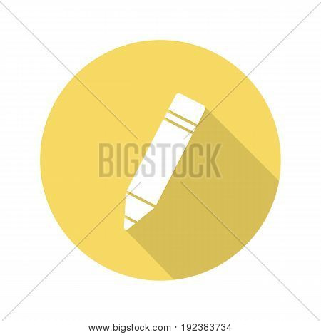 Pencil with eraser. Flat design long shadow glyph icon. Vector silhouette illustration