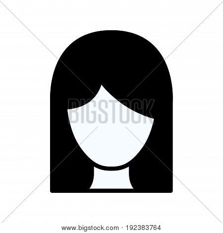 black silhouette thick contour of front view faceless woman with straight medium hair vector illustration