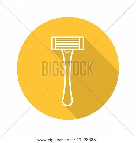 Shaving razor flat linear long shadow icon. Shaver. Vector outline symbol