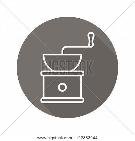 Coffee grinder flat linear long shadow icon. Vintage coffee mill. Vector outline symbol