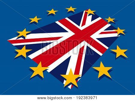 Brexit blue european union EU flag with stars and great britain flag England exit concept vector graphic design