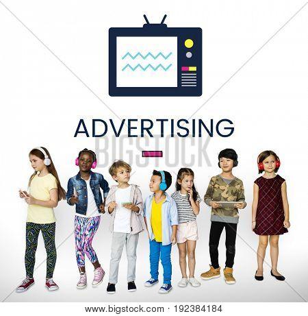 Children with illustration of TV broadcast media entertainment