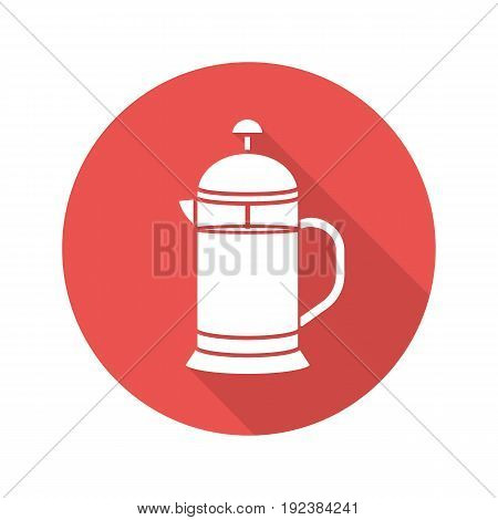 French press flat design long shadow glyph icon. Brewing tea pot. Vector silhouette illustration
