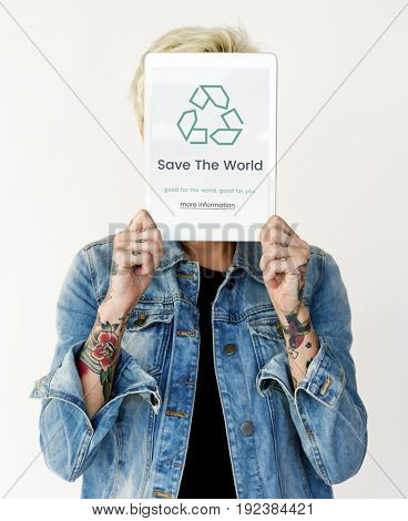 Recycle concept word on a device screen