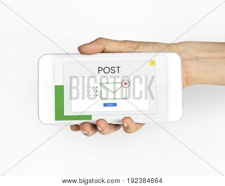 Hand holding smart phone with email communication icon