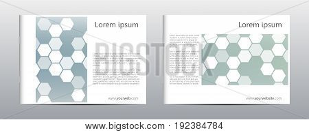 Rectangle brochure template layout, cover, annual report, magazine in A4 size with hexagon background. Vector illustration.
