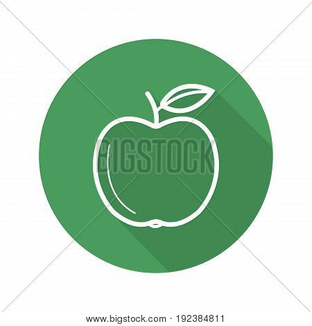 Green apple flat linear long shadow icon. Vector outline symbol