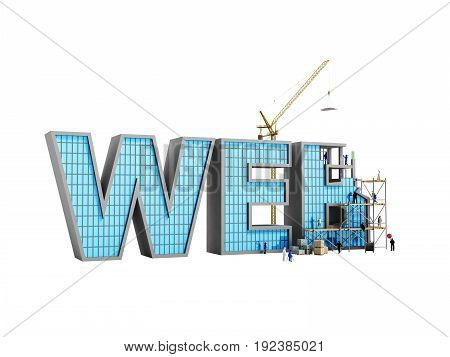 Web Development Concept Builders Are Working On The Inscription Web 3D Illustration On White No Shad
