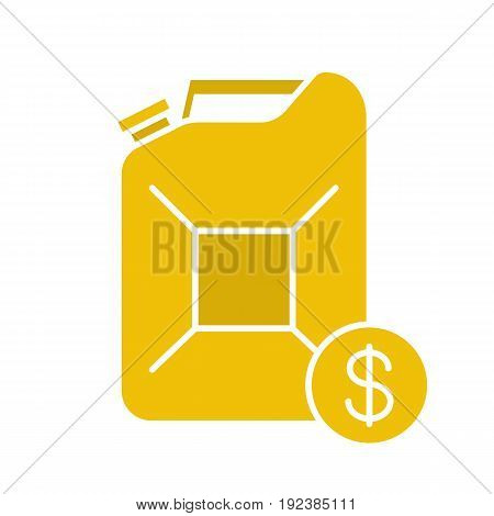 Petrol trade glyph color icon. Petroleum jerrycan with dollar sign. Silhouette symbol on white background. Negative space. Vector illustration